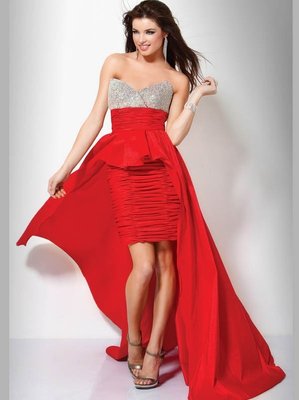 Elegantes Abendkleid Etui Linie Rot Schleppe - LACTRAUM ...