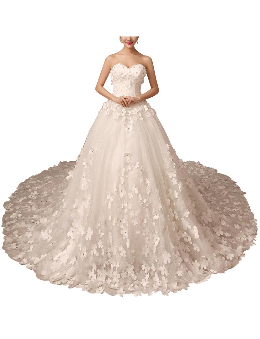 Prinzessin Brautkleid mit Herz-Ausschnitt Schleppe 16D Blüten