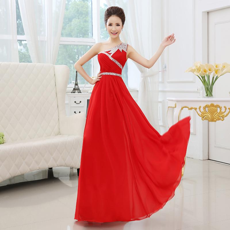 Schlicht und elegantes Abendkleid One-Shoulder Rot ...