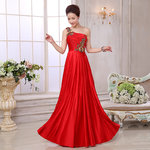 Elegantes Satinabendkleid Rot One Shoulder bodenlang
