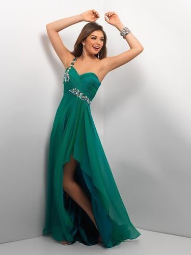 Abendkleid Empire Stil One-Shoulder bodenlang