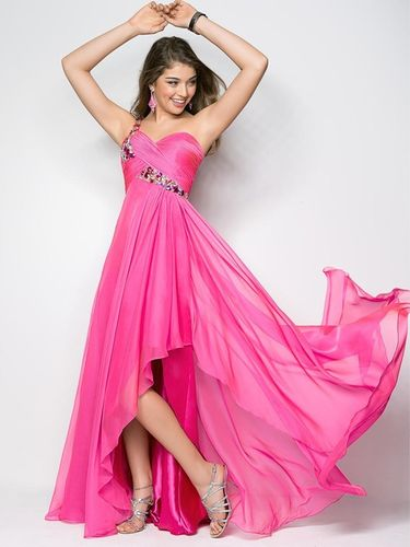 Abendkleid Empire Stil One-Shoulder bodenlang Rosa