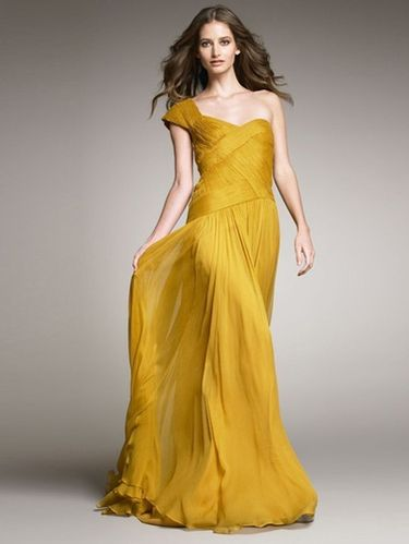 Abendkleid One-Shoulder Golden