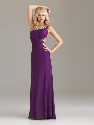 Elegantes Abendkleid One-Shoulder Violett