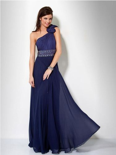 Elegantes Abendkleid One-Shoulder Marineblau