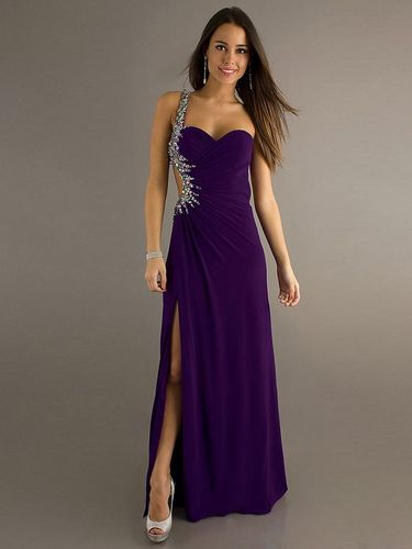 Elegantes Abendkleid One-Shoulder bodenlang Violett