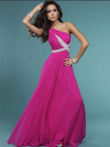 Elegantes Abendkleid One-Shoulder Rosa
