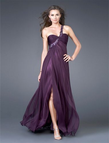 Elegantes Abendkleid One-Shoulder Empire Stil Violett