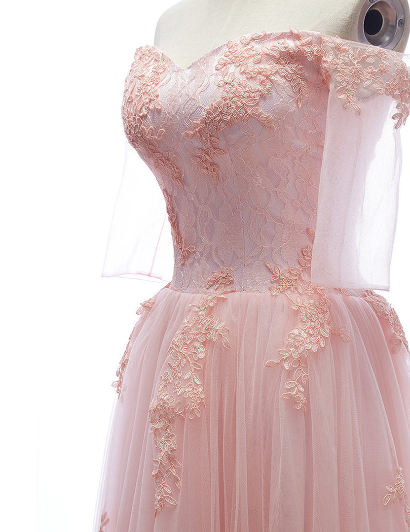 Elegantes Abendkleid mit Carmen-Ausschnnitt Rosa ...