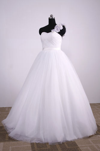 Prinzessin Brautkleid One-Shoulder Stoffblümchen