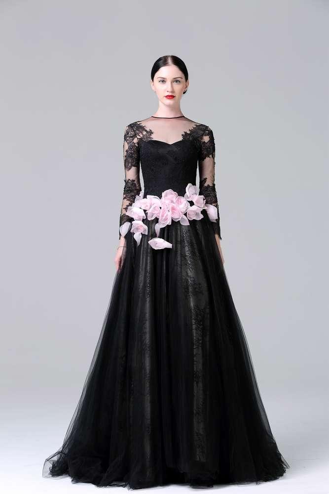 Elegantes Brautkleid (Abendkleid) mit Ärmeln Tüllrosen Schleppe ...